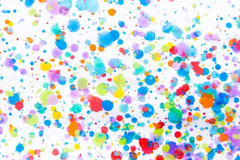 Spruzzata variopinta della pittura di colore di acqua Macchia, punto vago Con la t fotografie stock libere da diritti