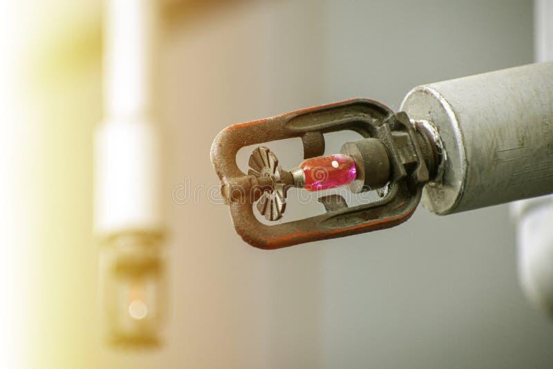 Spruzzatore per acqua nel sistema di protezione antincendio immagini stock libere da diritti