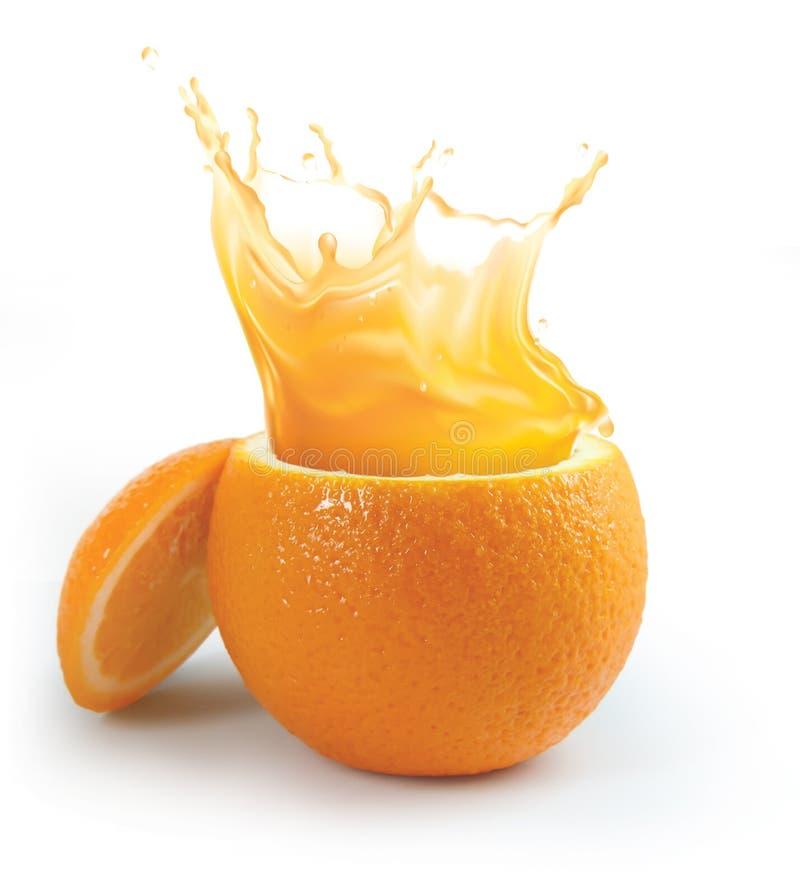 Spruzzatura del succo di arancia fotografie stock