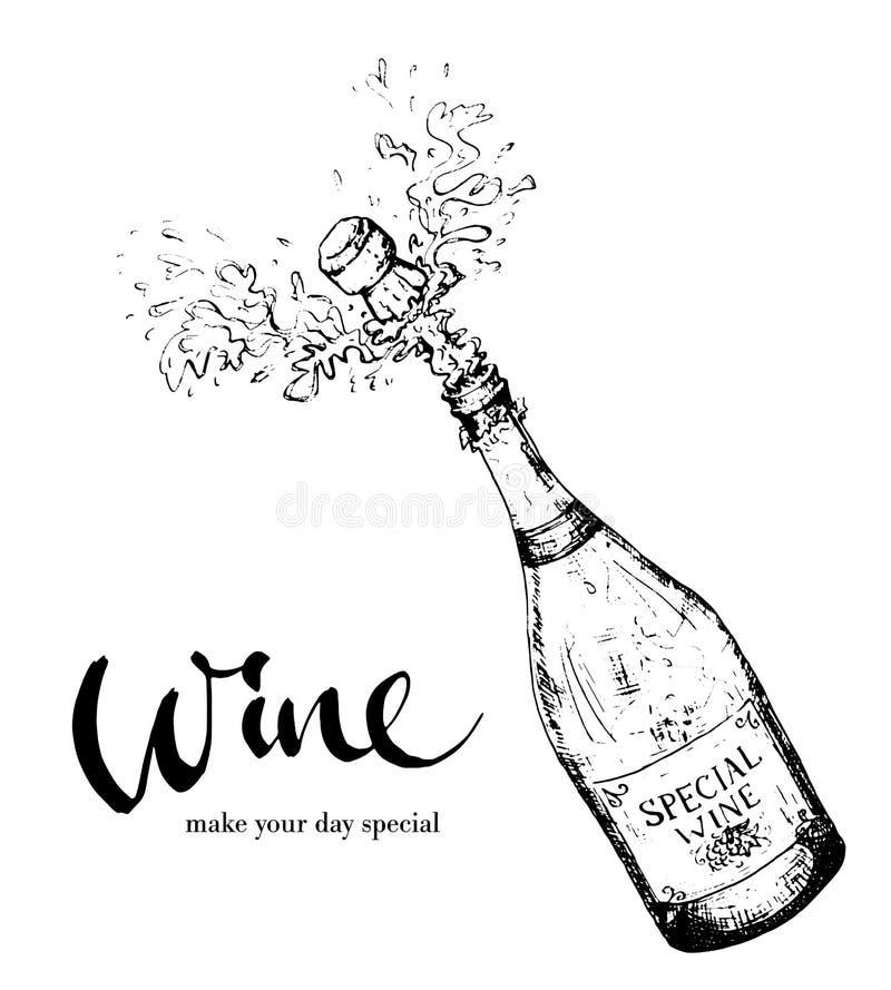 Spruzzatura della bottiglia di vino immagini stock