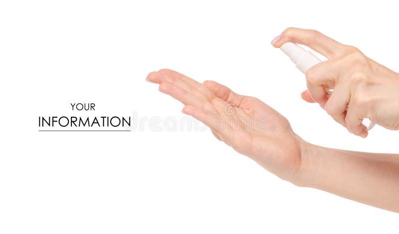 Spruzzo antibatterico per le mani antisettiche nel modello delle mani fotografia stock