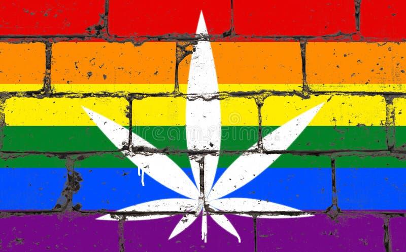 Spruzzo di arte della via dei graffiti che attinge stampino Foglia della cannabis sul muro di mattoni con la comunità della bandi immagini stock