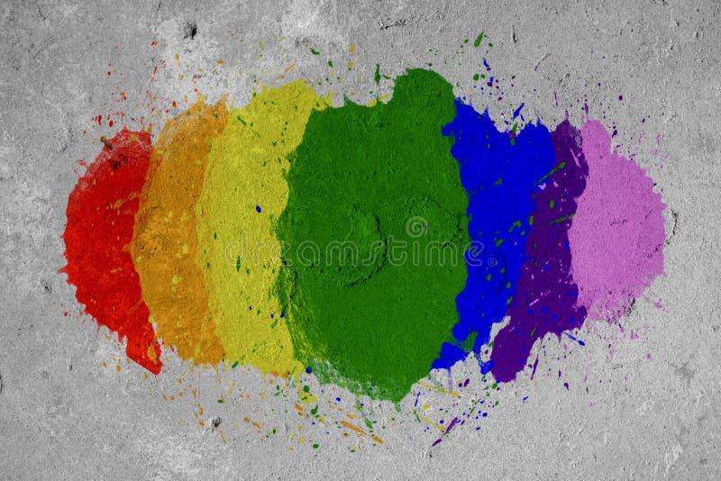 Spruzzo di colore dell'arcobaleno di LGBT dipinto sulla parete fotografia stock libera da diritti