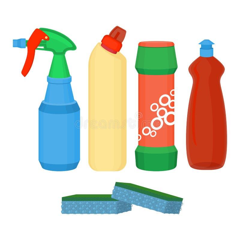 Spruzzo di pulizia, liquido chimico di lavaggio, polvere detergente, vettore della bottiglia del candeggiante illustrazione vettoriale