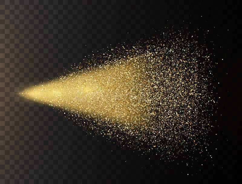 Spruzzo di scintillio dell'oro su fondo trasparente Cali d'ardore nel moto Particelle magiche dorate della luce della polvere di  royalty illustrazione gratis