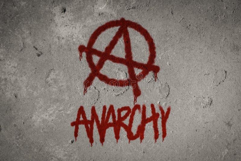 Spruzzo di simbolo di anarchia dipinto sulla parete fotografia stock libera da diritti