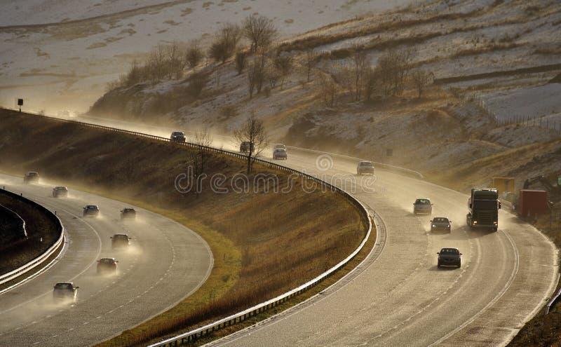 Spruzzo, M6 autostrada, Cumbria, Regno Unito immagine stock