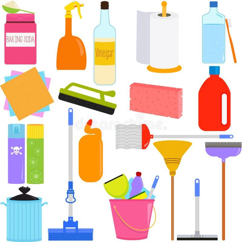 Sprzątań Narzędzia i Cleaning Wyposażenia ilustracja wektor