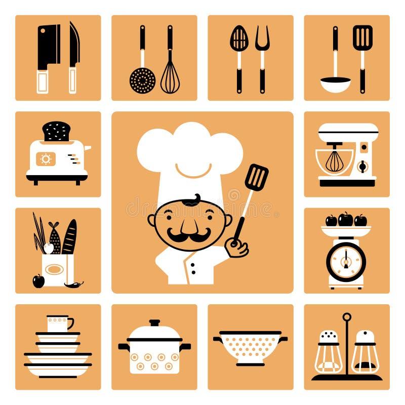 sprzęt kuchenny nóż widelce royalty ilustracja
