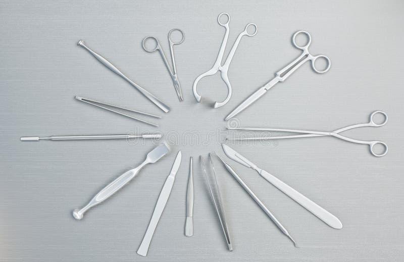 Sprzęt medyczny, przyrząda w nowożytnej sala operacyjnej ilustracja 3 d ilustracji
