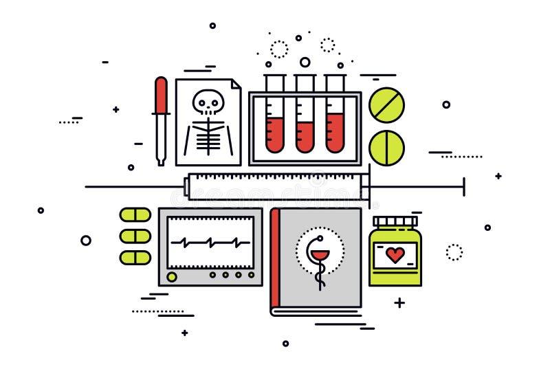 Sprzętu medycznego kreskowego stylu ilustracja ilustracji