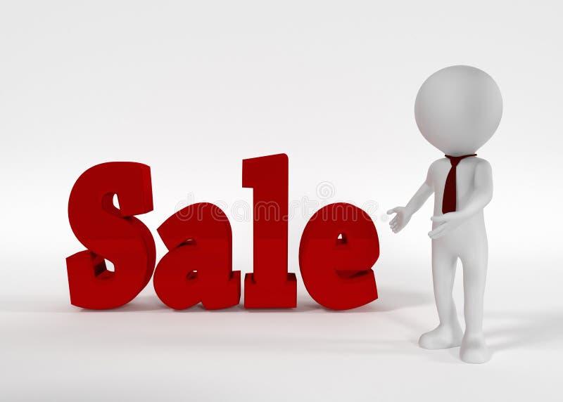 Sprzedaż biznesmen i tekst ?wiadczenia 3 d ilustracja wektor