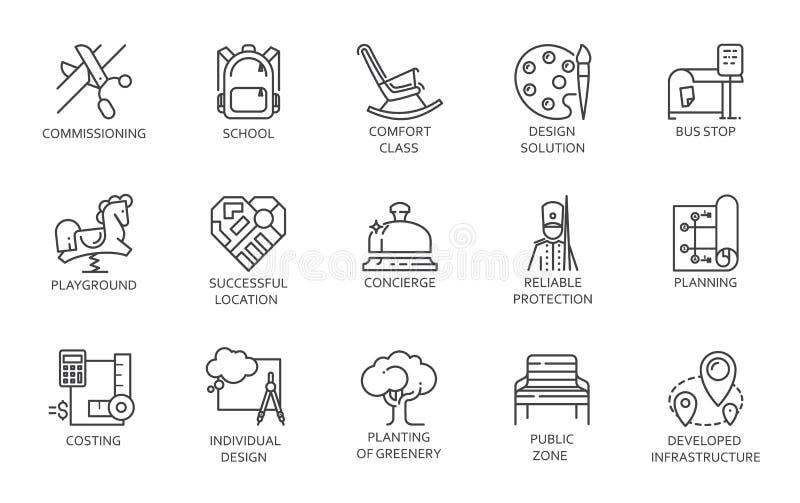 Sprzedaż, czynsz nieruchomość i jawne strefy mono, cieniejemy uderzenie symbole Set czarne ikony w liniowym projekcie royalty ilustracja