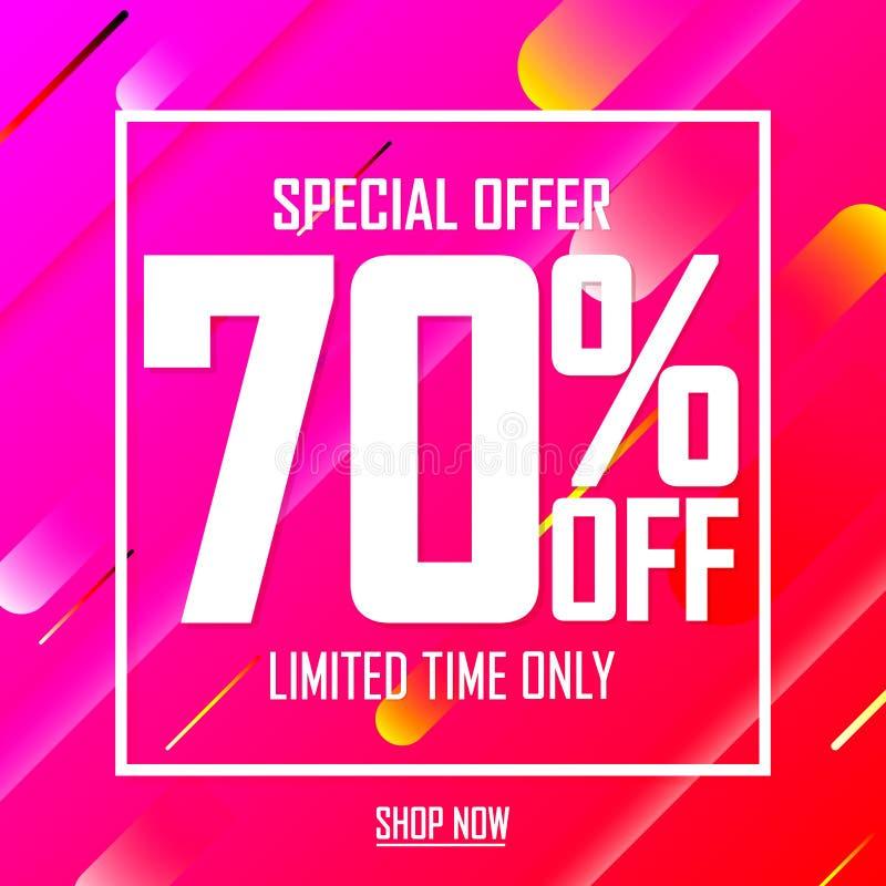 Sprzedaż 70% daleko, oferta specjalna, plakatowy projekta szablon, limitowany czas, wektorowa ilustracja ilustracji