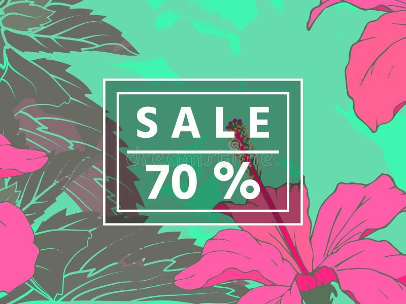 Sprzedaż do 70 procentów daleko Sieć sztandar lub plakat dla handlu elektronicznego, linia kosmetyki robimy zakupy, fasonujemy, p royalty ilustracja