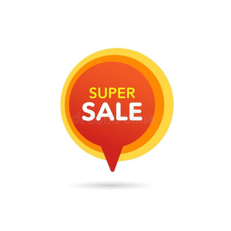 Sprzedaż Dyskontowy sztandar Dyskontowa oferty metka Specjalnej oferty sprzedaży pomarańczowego koloru żółtego etykietka Wektorow royalty ilustracja