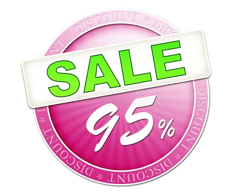Sprzedaż guzik 95% royalty ilustracja