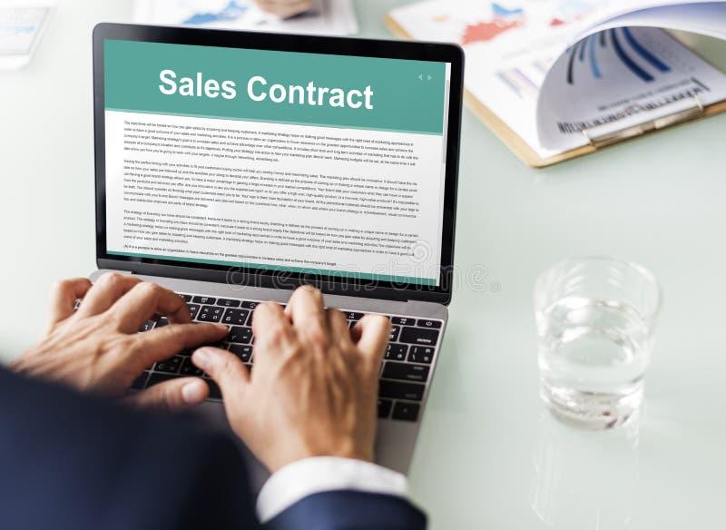 Sprzedaż kontrakt Tworzy dokumentu Legalnego pojęcie obraz stock