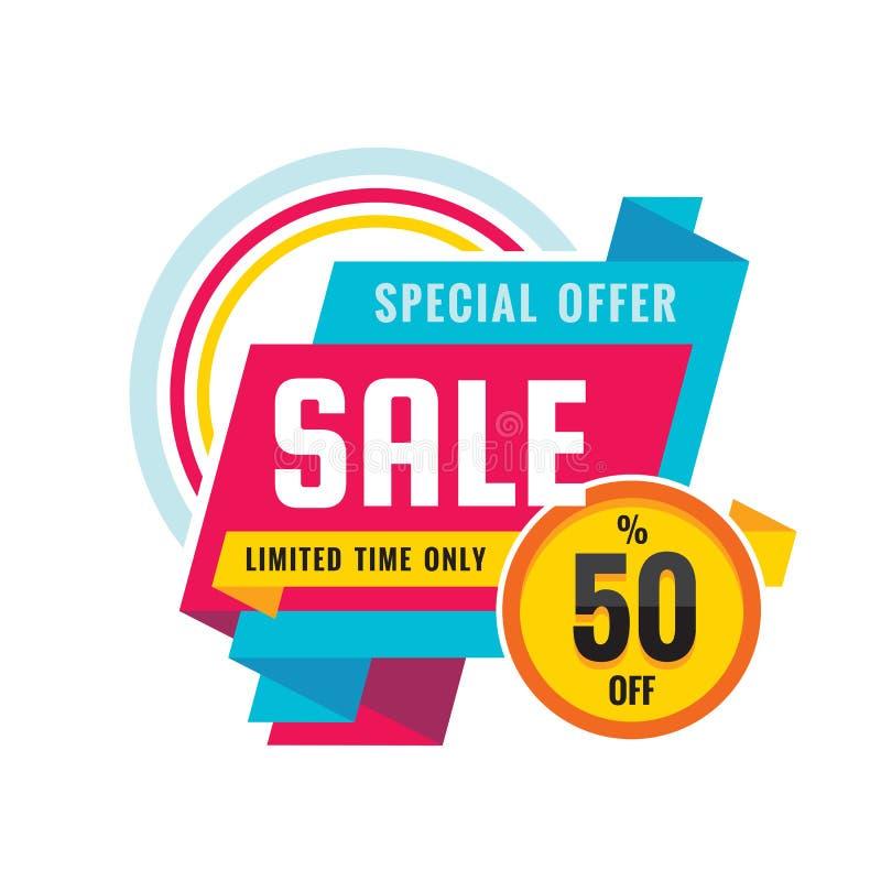 Sprzedaż - kreatywnie sztandaru wektoru ilustracja Abstrakcjonistyczny pojęcie rabat do 50% promocyjnego układu na białym tle royalty ilustracja