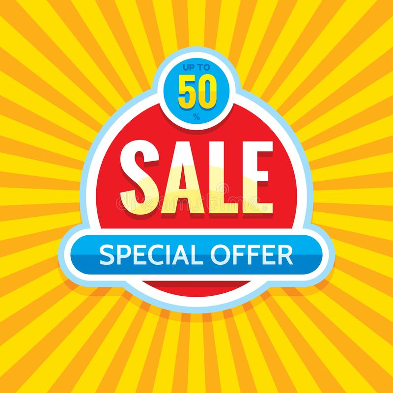 Sprzedaż - kreatywnie sztandaru wektoru ilustracja Abstrakcjonistyczny pojęcie rabata 50% promocyjny układ Specjalnej oferty majc ilustracja wektor