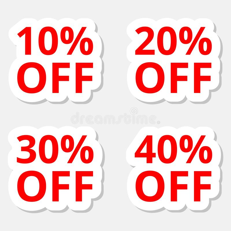 Sprzedaż majcherów dyskontowe ikony Specjalnej oferty ceny znaki 10, 20, 30 i 40 procentów z redukcyjnych symboli/lów, royalty ilustracja