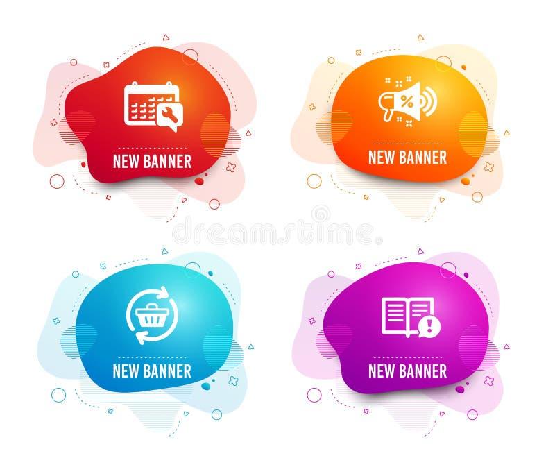 Sprzedaż megafon, Odświeża furę i Spanner ikony Fact znak Robiący zakupy, Online zakupy, Remontowa usługa wektor ilustracja wektor