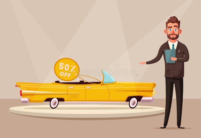 Sprzedaż nowy samochód Sprzedawca przy samochodową sala wystawową pokazuje pojazd chłopiec kreskówka zawodzący ilustracyjny mały  ilustracji