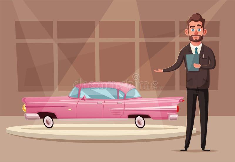 Sprzedaż nowy samochód Sprzedawca przy samochodową sala wystawową pokazuje pojazd chłopiec kreskówka zawodzący ilustracyjny mały  royalty ilustracja