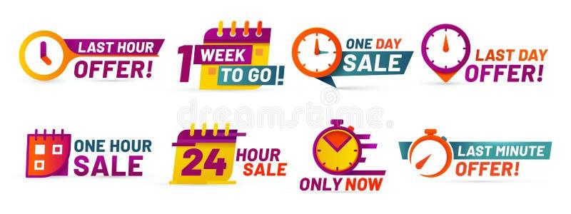 Sprzedaż odliczanie odznaki W ostatniej chwili oferta sztandar, jeden dzień sprzedaż i 24 godziny sprzedaży promo majcherów wekto ilustracja wektor