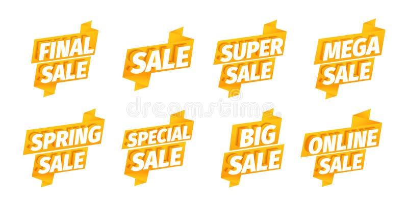 Sprzedaż oferuje tasiemkowego majcheru set Reklamowy promocyjny plakat Mega super definitywna wiosna Duży online 3d listy na a royalty ilustracja