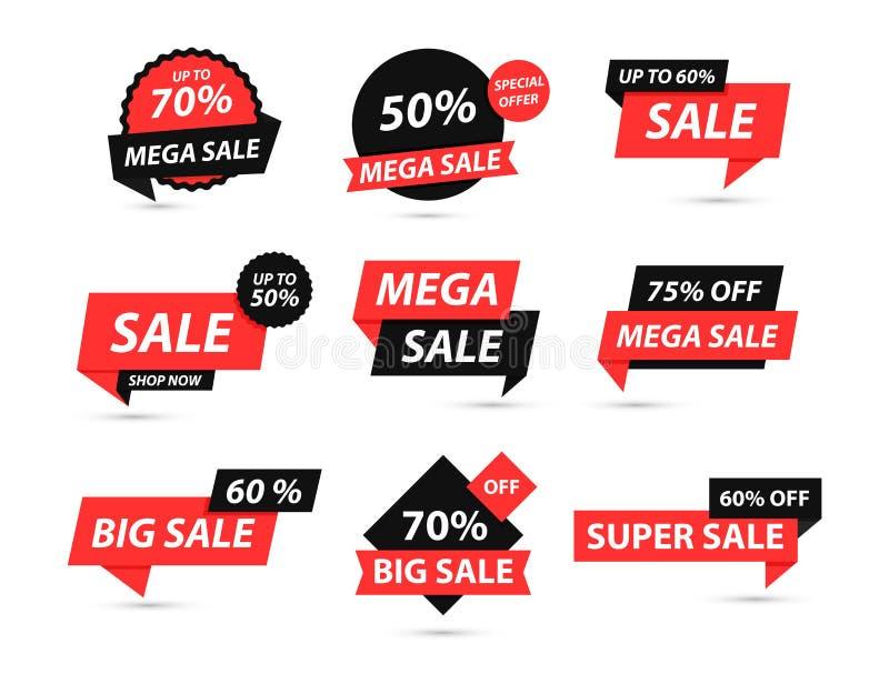 Sprzedaż oznacza kolekcję Oferta specjalna, duża sprzedaż, rabat, najlepszy cena, mega sprzedaż sztandaru set r Majcher, odznaka ilustracja wektor