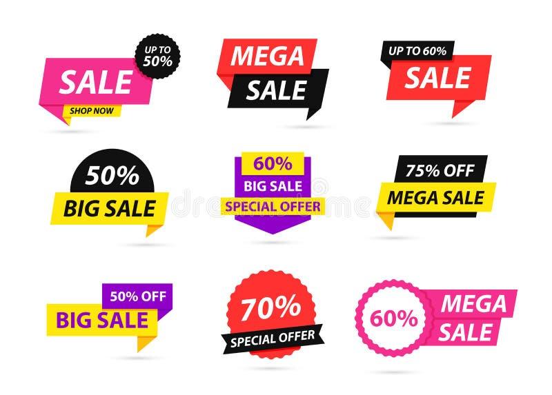 Sprzedaż oznacza kolekcję Oferta specjalna, duża sprzedaż, rabat, najlepszy cena, mega sprzedaż sztandaru set r Majcher, odznaka ilustracji