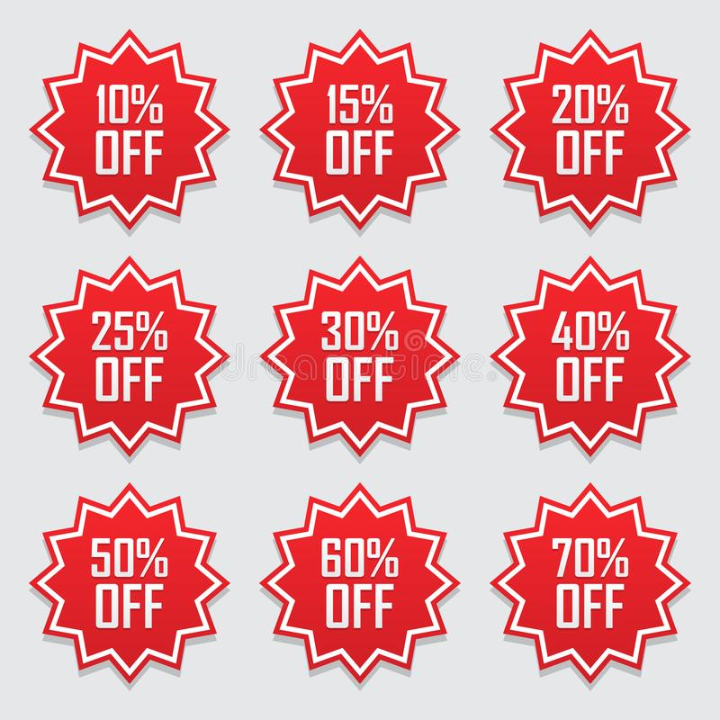 Sprzedaż oznacza ustalonego wektorowego odznaka szablon, 10 daleko, 15%, 20, 25, 30, 40, 50, 60, 70 procentów sprzedaży etykietki ilustracji