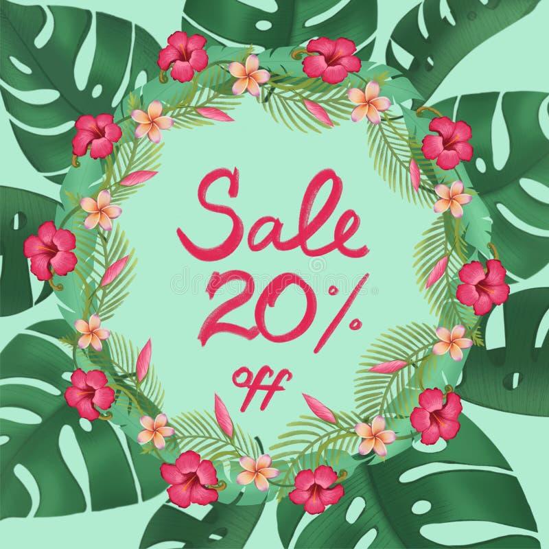 Sprzedaż plakata rabata dwadzieścia 20% procent z promocyjnego sztandaru ilustracja wektor