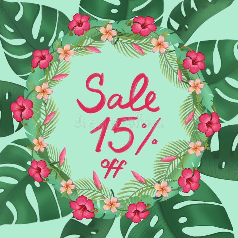 Sprzedaż plakata rabata piętnaście 15% procent z promocyjnego sztandaru ilustracji