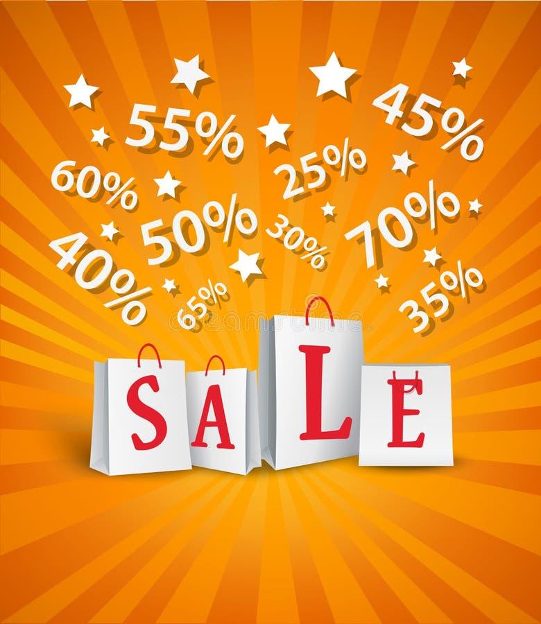 Sprzedaż plakatowy projekt z torba na zakupy i procentu rabatem royalty ilustracja