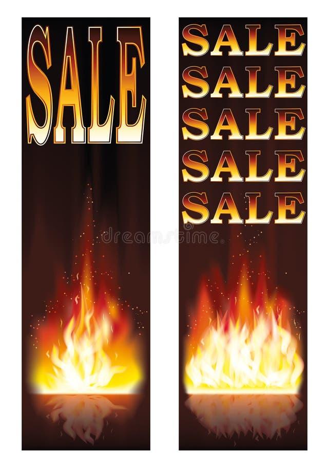 Sprzedaż pożarniczy sztandary royalty ilustracja
