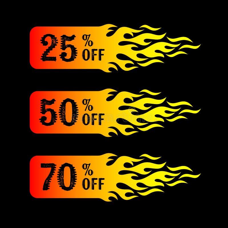 Sprzedaż 25 50 70 procentów z etykietek ilustracja wektor