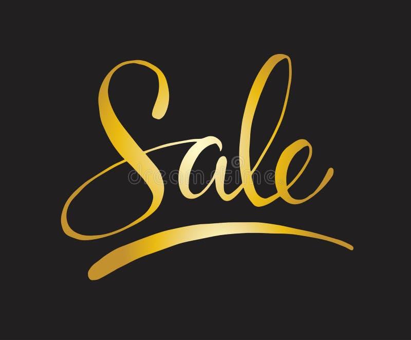 Sprzedaż - ręka kreślił literowanie typografię Ręka rysujący sprzedaży literowania znak Odznaka, ikona, sztandar, etykietka ilustracja wektor