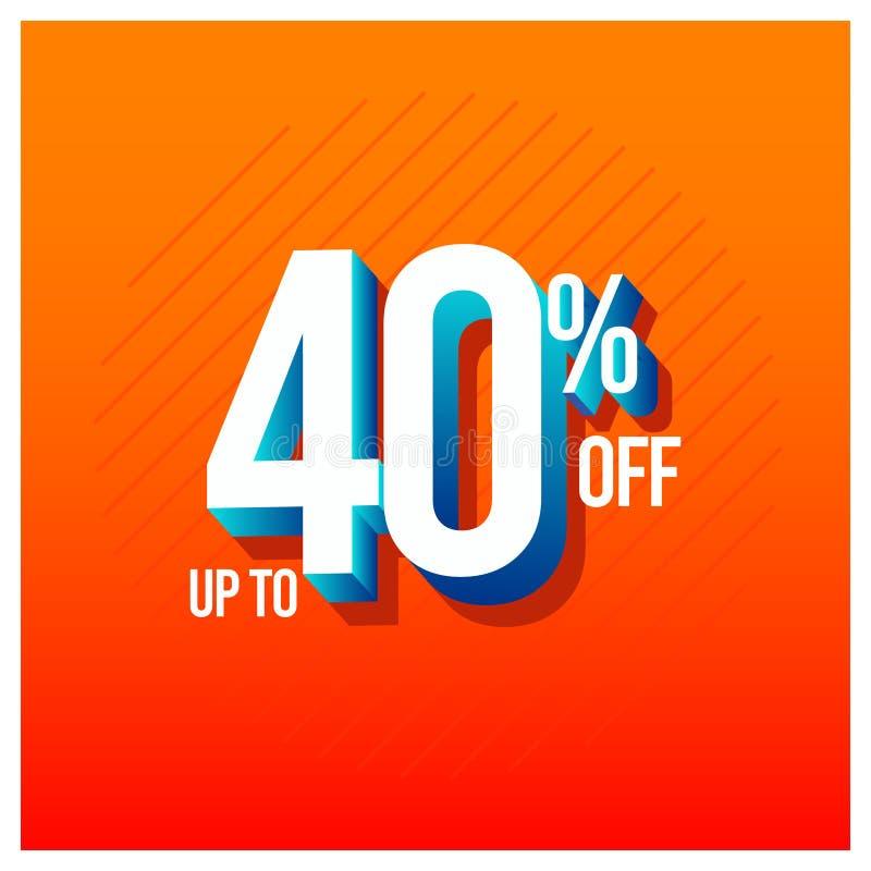 Sprzedaż rabat do 40% z Ustalonej Wektorowej szablonu projekta ilustracji ilustracji