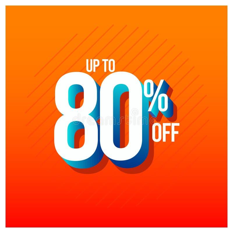 Sprzedaż rabat do 80% z Ustalonej Wektorowej szablonu projekta ilustracji ilustracja wektor