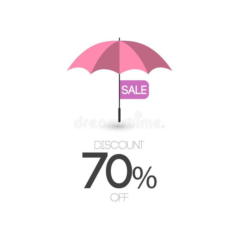 Sprzedaż rabat 70% z Parasolowej Wektorowej szablonu projekta ilustracji ikony ilustracja wektor