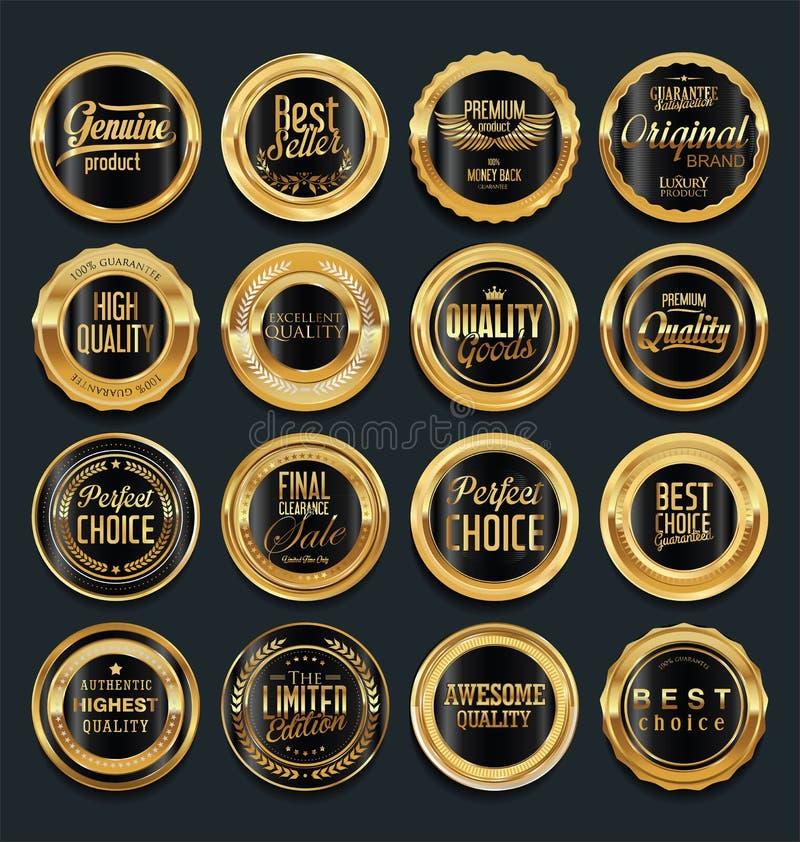 Sprzedaż retro rocznika złote odznaki i etykietki ilustracji