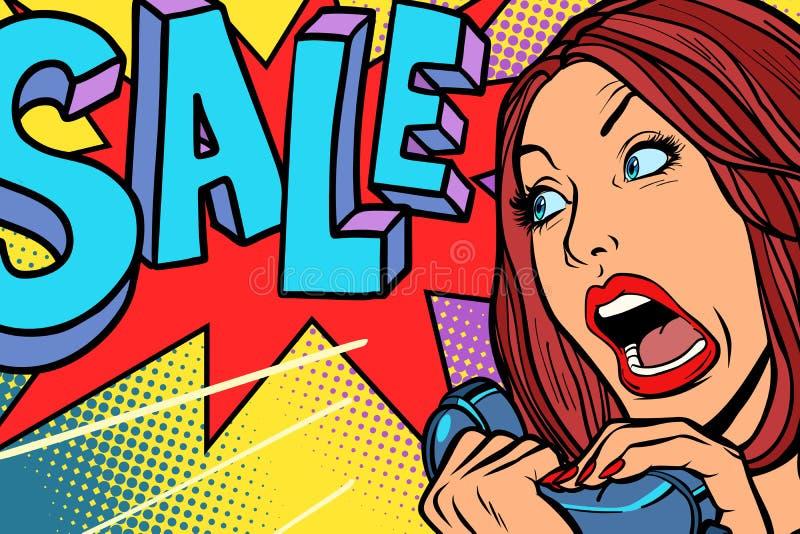 Sprzedaż, robi zakupy sezon Kobieta krzyczy w telefonie ilustracji