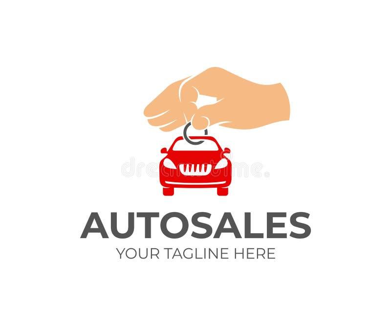 Sprzedaż samochody, ręka trzyma kluczowego łańcuch z maszyną, loga projekt Autodealer, samochodowa sala wystawowa i transport, we ilustracja wektor