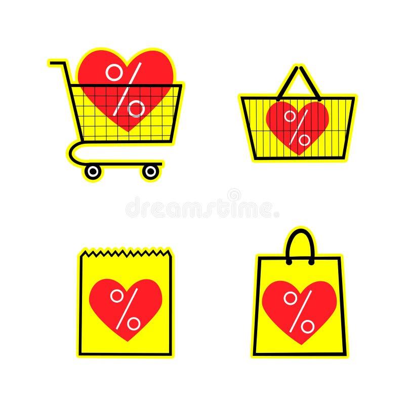 Sprzedaż sklepu torba koszykowa i fur ikony Dyskontowy symbol na żółtym tle Specjalnej oferty etykietka z sercami wektor ilustracji