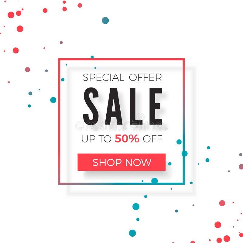 sprzedaż Specjalnej oferty reklama Promo sztandaru projekta szablon Wektorowa ilustracja odizolowywająca na bielu royalty ilustracja