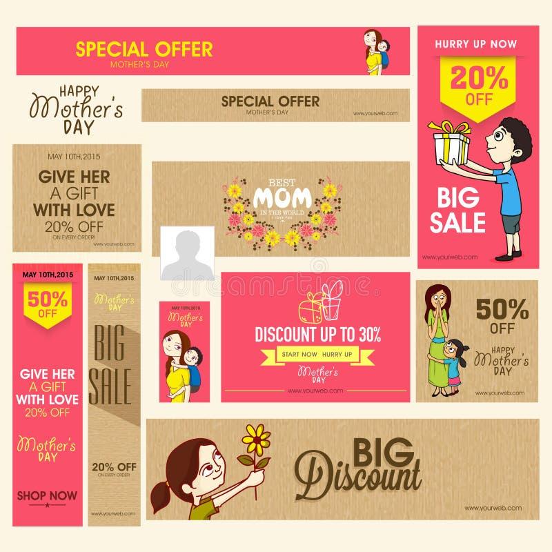 Sprzedaż sztandar dla Szczęśliwego matka dnia świętowania lub chodnikowiec royalty ilustracja
