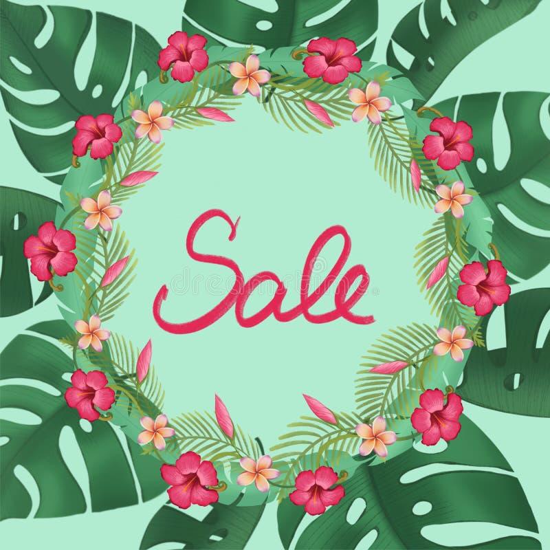 Sprzedaż sztandar, dyskontowy plakat z tropikalnym liść promocji sztandarem ilustracji