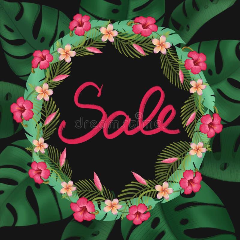Sprzedaż sztandar, plakat z palmowymi liśćmi ilustracja wektor